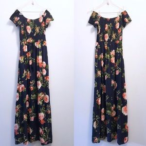 Band Of Gypsies Off The Shoulder Floral Maxi Dress
